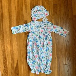 Brand New Baby Convertible Gown with Hat Set